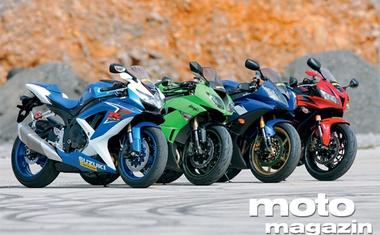 Supersport 600: Honda CBR 600 RR ABS, Suzuki GSX-R 600, Kawasaki ZX-6R, Yamaha YZF-R6