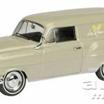 OPEL OLYMPIA REKORD CARAVAN 1953 -  Na mednarodnem avtomobilskem salonu IAA v Frankfurtu je tovarna Opel predstavila novo Olympio, ki ji je dodala še ime Rekord. Avtomobil je bil za tiste čase sodobno oblikovan – po vzoru ameriških modelov GM. Olympia Rekord je bil uspešen model, ki so ga z manjšimi oblikovalskimi spremembami (maska hladilnika) izdelovali do leta 1957 in izdelali v skupaj 558.452 primerkih. Schuco je v merilu 1 : 43 izdelal model Olympia Rekord Caravan v izvedbi Oplovega servisnega vozila, ki je bilo zelo priljubljeno med obrtniki.