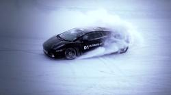 Lamborghini Gallardo drifta po ledu s hitrostjo skoraj 100 km/h