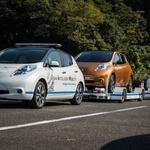 Takole v japonski tovarni električni Leaf samostojno prevaža prikolice (video) (foto: Nissan)