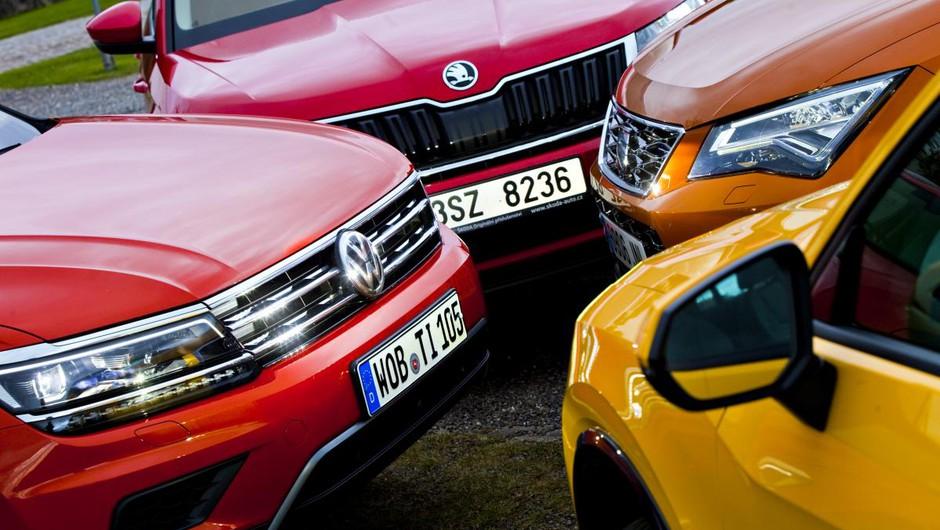 Volkswagnov quattro Audi Q2 proti Seat Ateca proti Škoda Kodiaq proti VW Tiguan